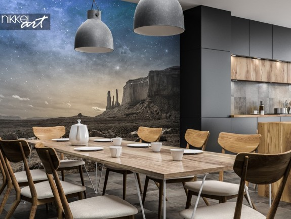 Dining Room with Wall Mural Landscape