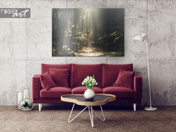Exotic Interior with Bamboo Rainforest on Aluminum