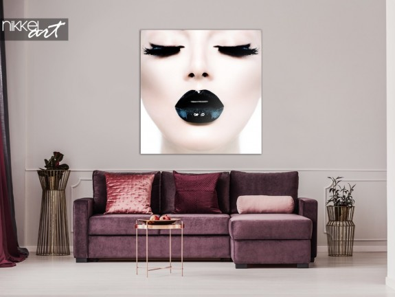 Acrylic Print Lady with Black Lips