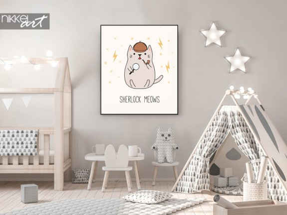 Nursery with Poster Illustration Detective Kitten