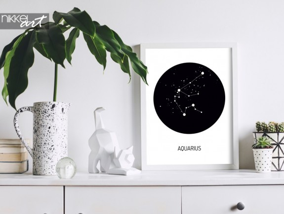 Clean Modern Interior with Zodiac Poster
