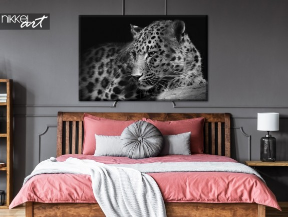 Bedroom with Photo Leopard on Canvas