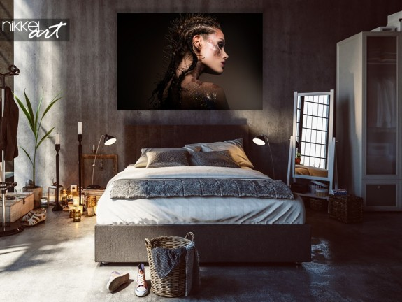Bedroom with Photo Beauty Model on Aluminum