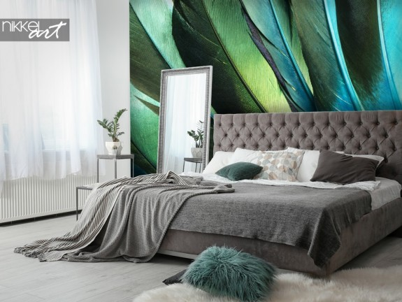Bedroom with Wall Mural Feathers