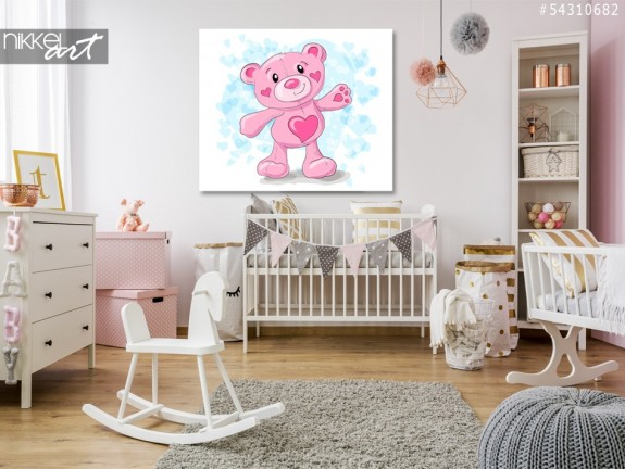 Acrylic Prints Cute teddy with hearts cartoon