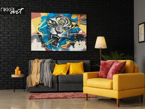 Living Room with Photo Graffiti Tiger on Plexiglas