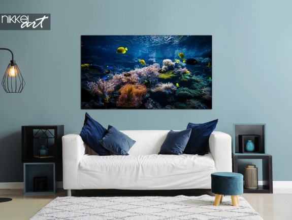 Living Room with Photo Coral Reef on Aluminum