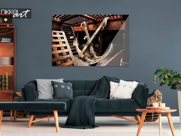 Living Room with Print of Ship on Acrylic