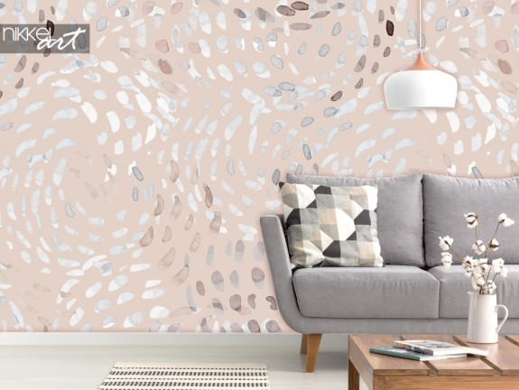 Living Room with Wall Mural Abstract Swirls