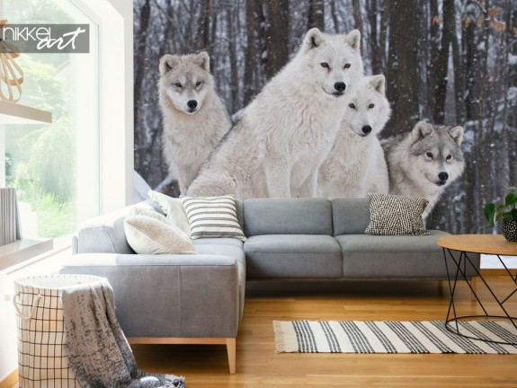 Living Room with Wall Mural Wolves